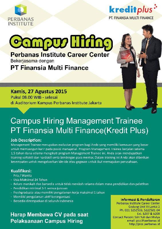 Campus Hiring Management Trainee PT Finansia Multi Finance (Kredit Plus)