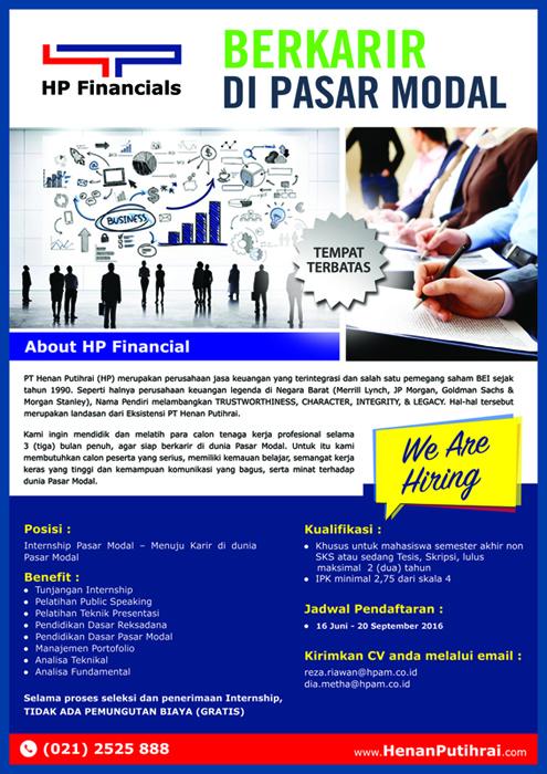 Program Magang (Internship) Bidang Pasar Modal