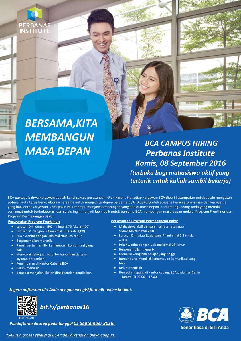 Campus Hiring (Campus Recruitment) PT. Bank Central Asia Tbk.