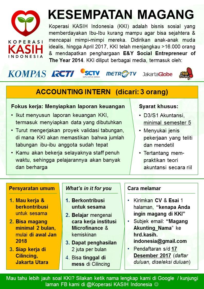 kesempatan Magang di Koperasi KASIH Indonesia