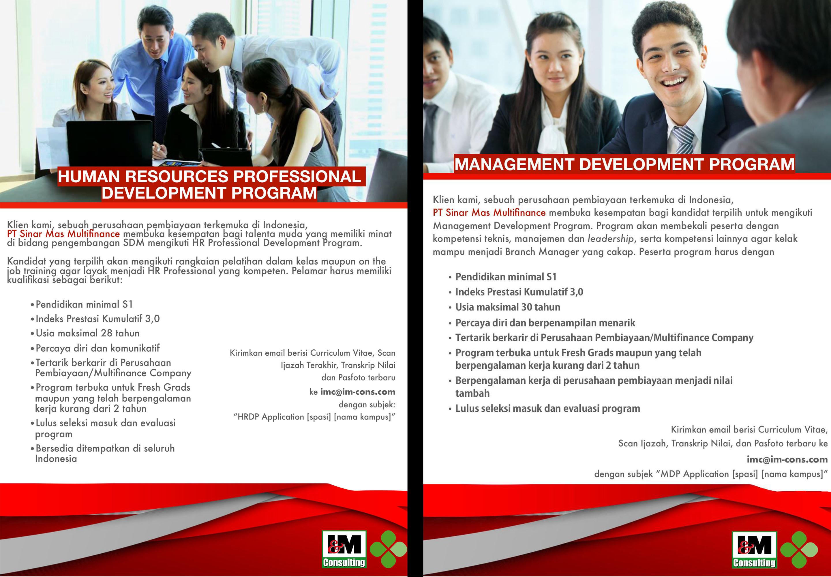 Informasi lowongan pekerjaan PT Sinar Mas Multifinance