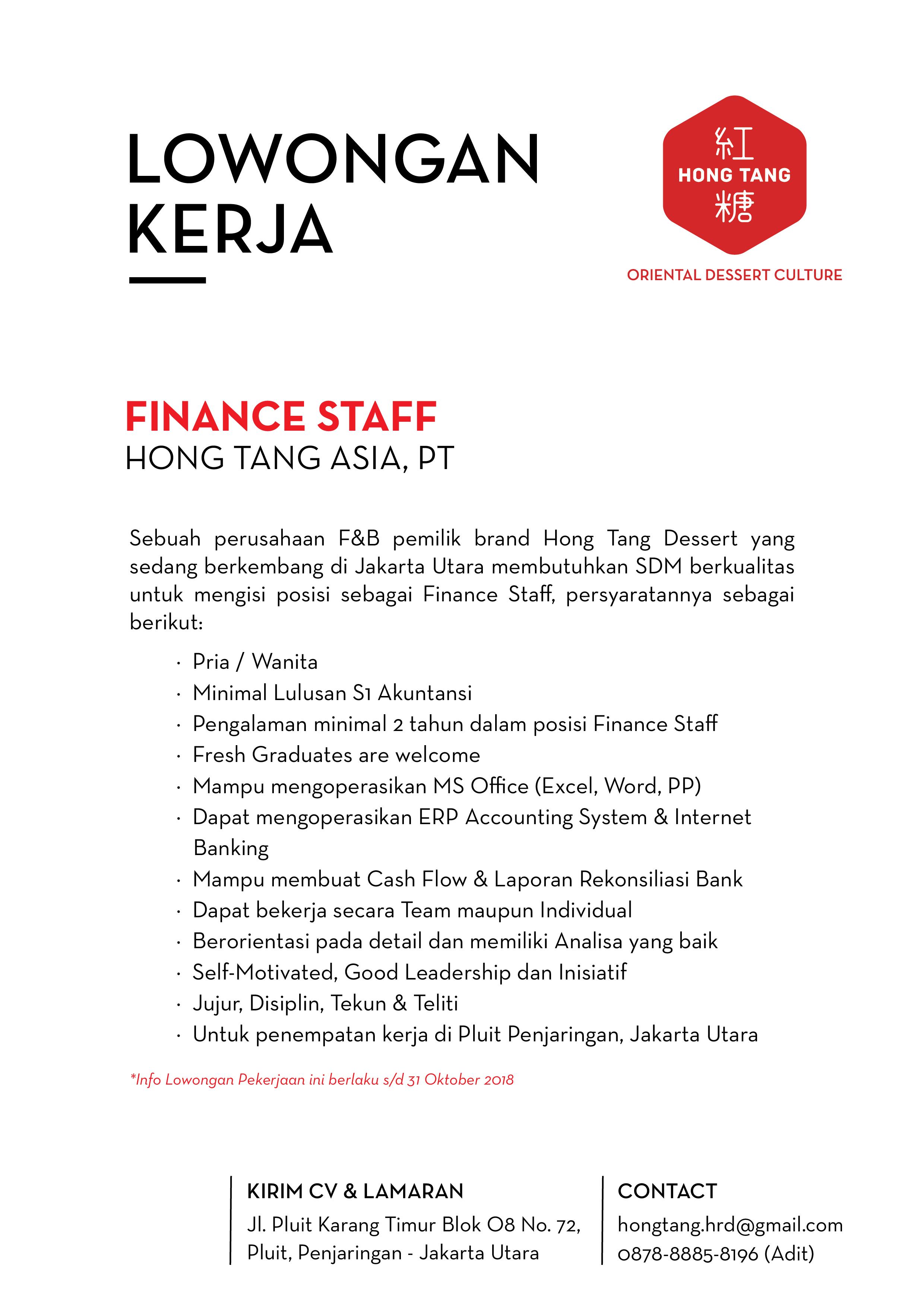 Informasi Lowongan Pekerjaan PT. Hong Tang
