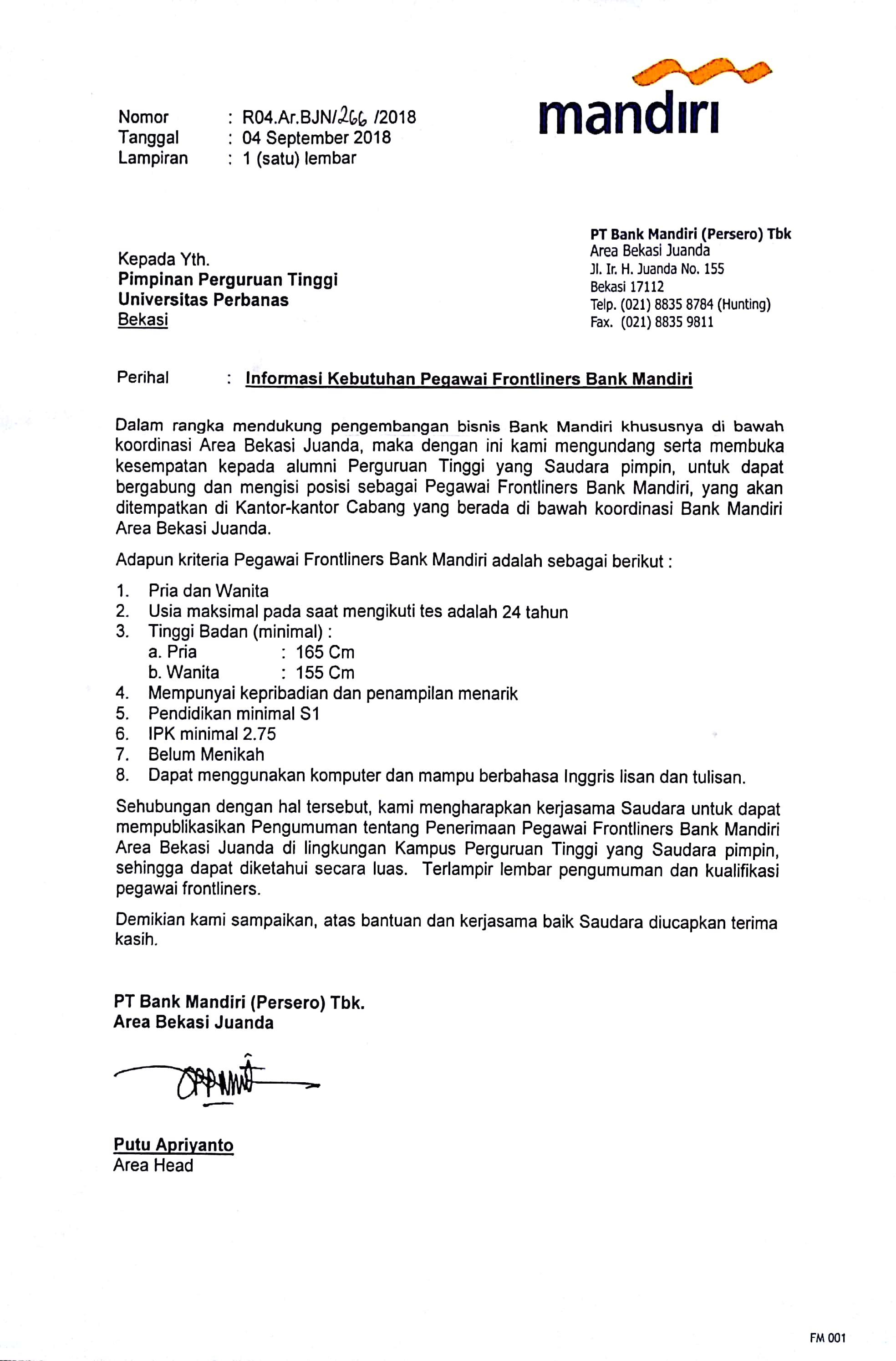 Informasi Rekrutment di PT. Bank Mandiri (Persero) Tbk