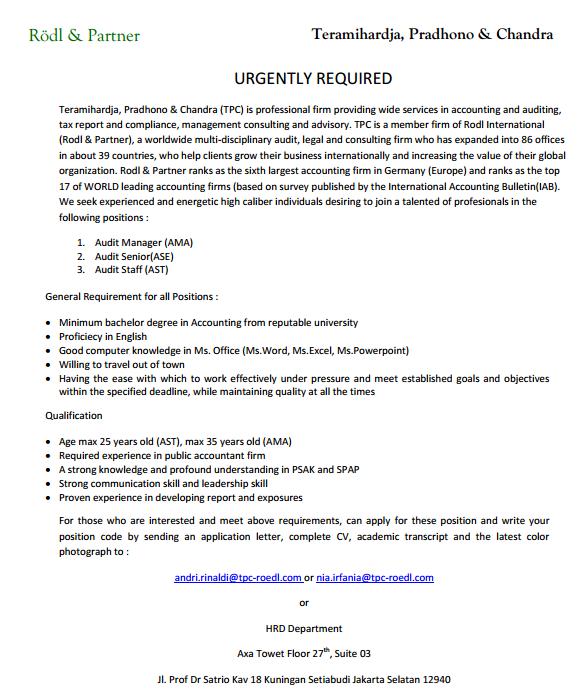 Informasi Lowongan Pekerjaan di Kantor Akuntan Publik Teramihardja, Pradhono & Chandra