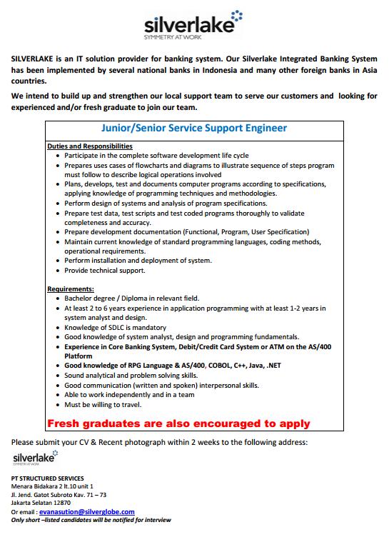 Informasi Lowongan Pekerjaan di PT. Structured Services (Silverlake)