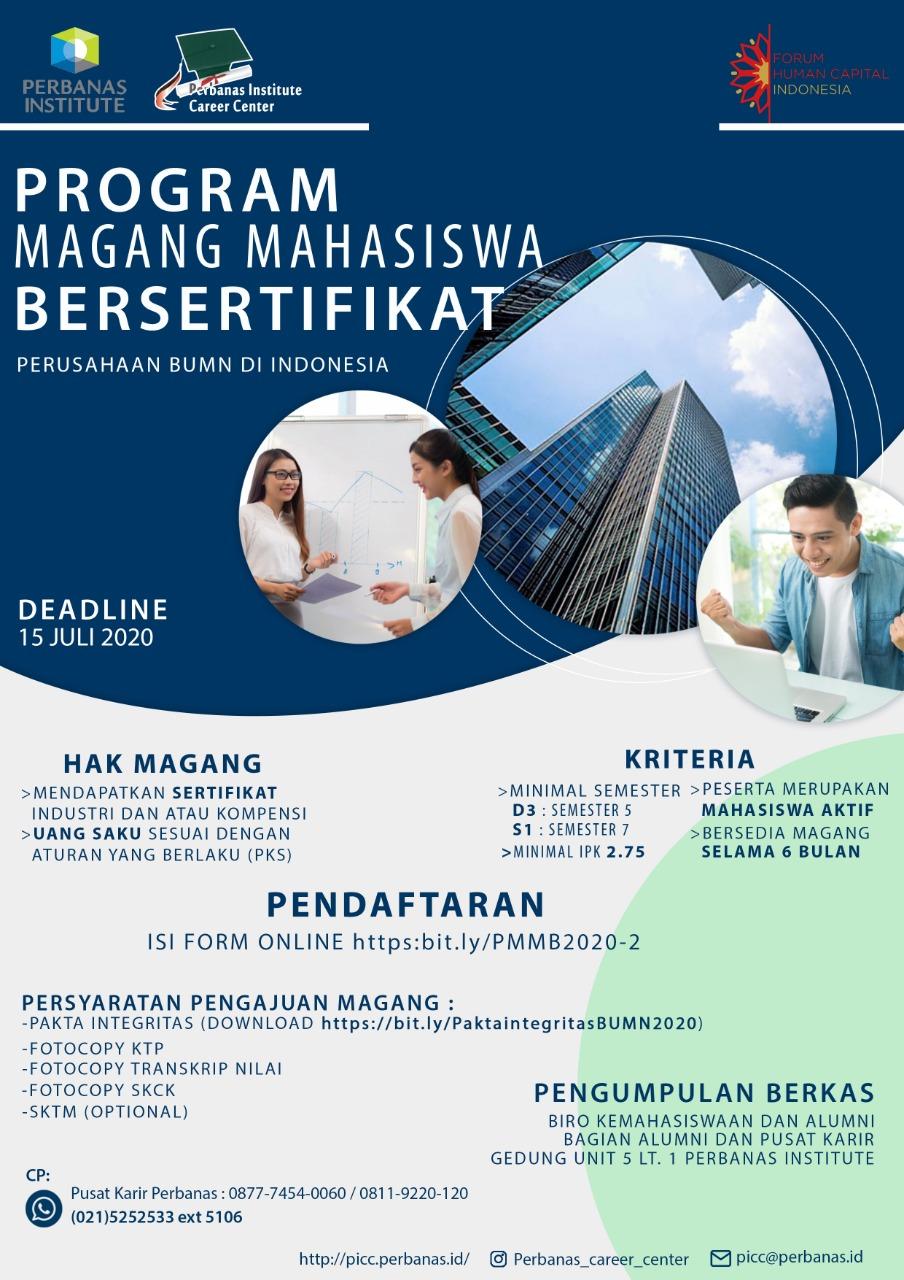 PROGRAM MAGANG MAHASISWA BERSERTIFIKAT BATCH 2 TAHUN 2020